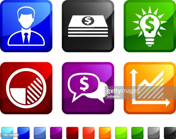 money and economy royalty free vector icon set stickers - fiscal year stock illustrations