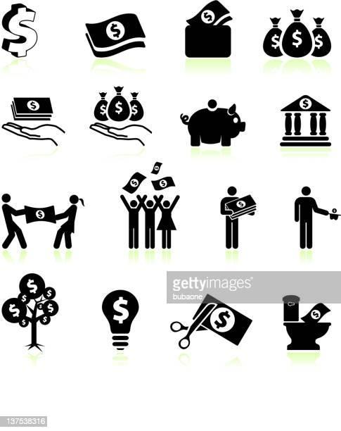 geld und finanzen & schwarz-weiß vektor icon-set - strichmännchen stock-grafiken, -clipart, -cartoons und -symbole
