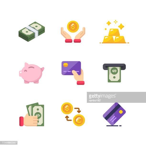 お金と金融フラットカラーベクターアイコン。ピクセルパーフェクト。モバイルと web 用。 - 為替相場点のイラスト素材/クリップアート素材/マンガ素材/アイコン素材