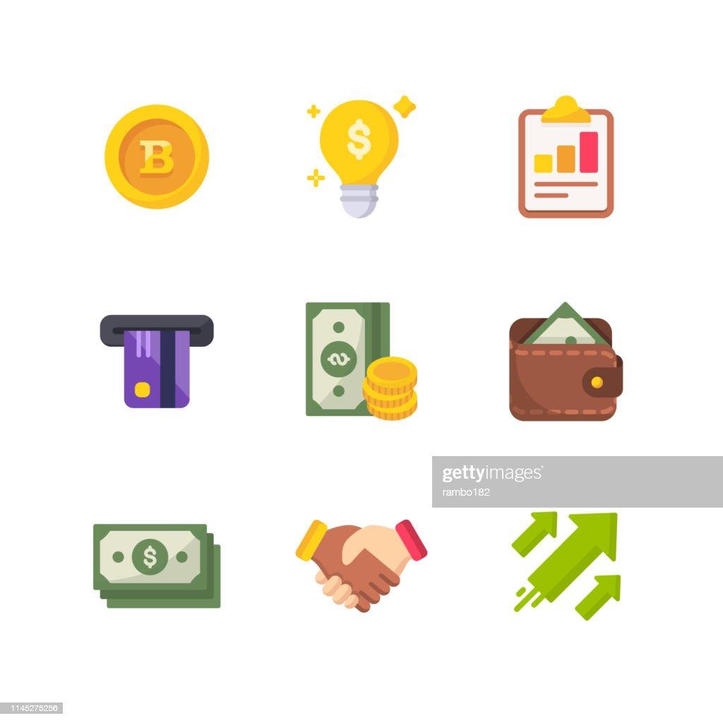 お金と金融フラットベクトルアイコン。ピクセルパーフェクト。モバイルと Web 用。 : ストックイラストレーション