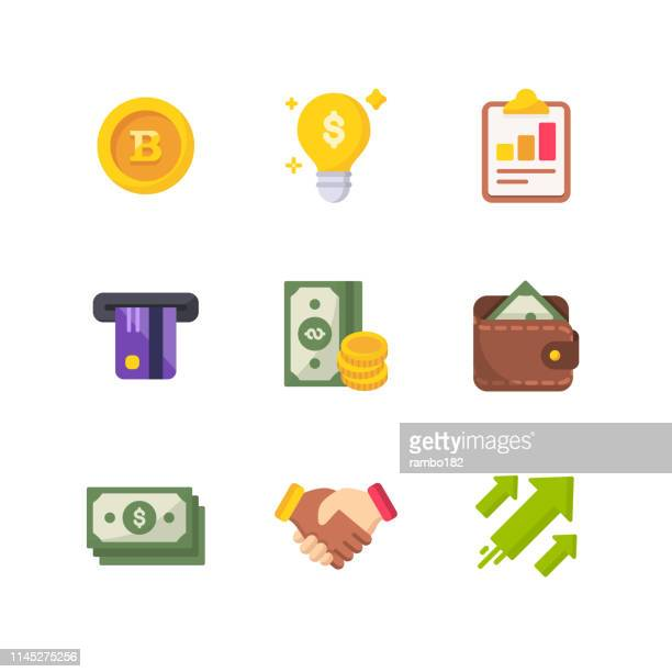 illustrazioni stock, clip art, cartoni animati e icone di tendenza di money and finance flat vector icons. pixel perfect. for mobile and web. - flat design