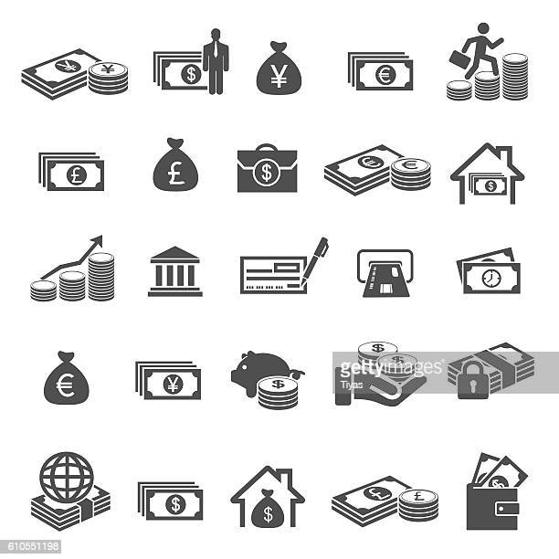 money and finance icon set
