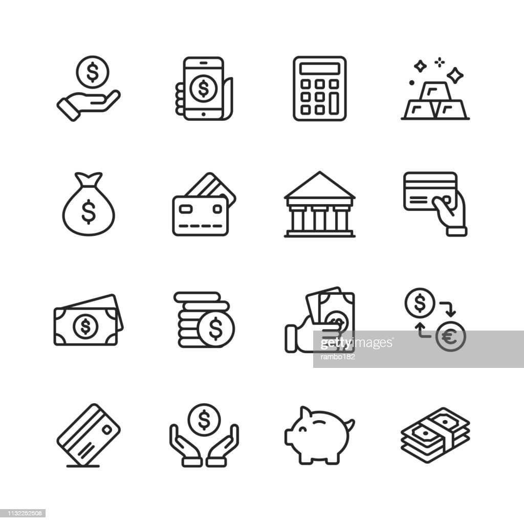 Money and Finance Line Icons. Editable Stroke. Pixel Perfect. For Mobile and Web. Contains such icons as Money, Wallet, Currency Exchange, Banking, Finance. : Stock Illustration