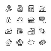 Money and Finance Line Icons. Editable Stroke. Pixel Perfect. For Mobile and Web. Contains such icons as Money, Wallet, Currency Exchange, Banking, Finance.