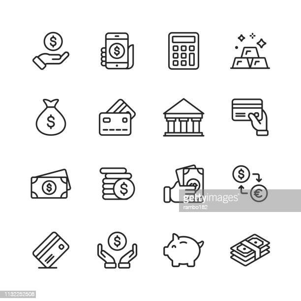 money and finance line icons. editable stroke. pixel perfect. for mobile and web. contains such icons as money, wallet, currency exchange, banking, finance. - money bag stock illustrations