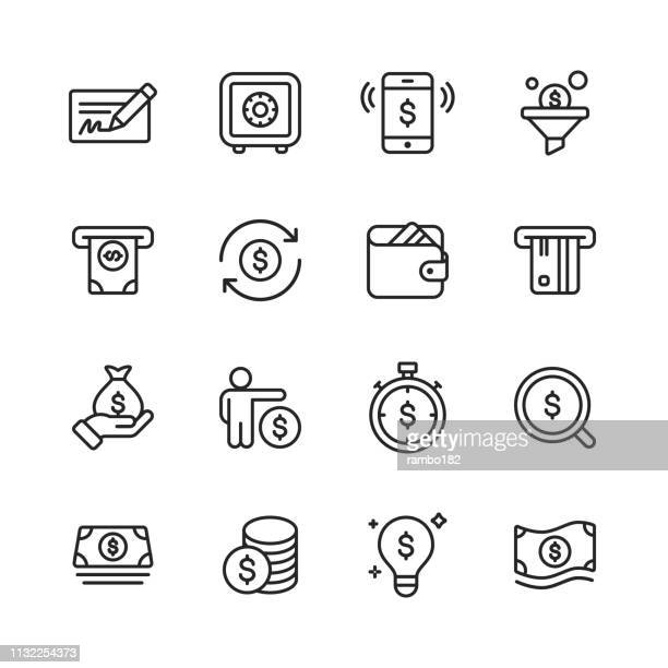 money and finance line icons. editable stroke. pixel perfect. for mobile and web. contains such icons as money, wallet, safe, banking, finance. - economy stock illustrations