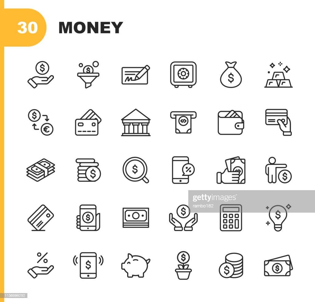 Geld-und Finanz-Line-Icons. Bearbeitbare Stroke. Pixel Perfect. Für Mobile und Web. Enthält Icons wie Banking, Piggy Bank, Zahlung, Kreditkarte, Mobile Rabatt. : Stock-Illustration