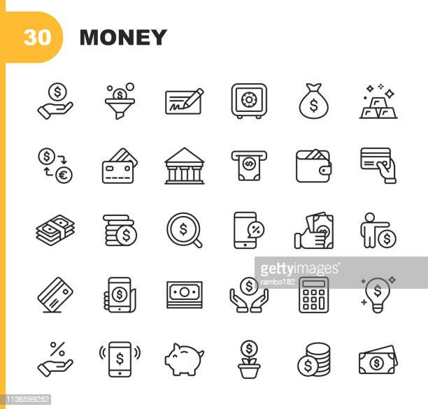 money and finance line icons. editable stroke. pixel perfect. for mobile and web. contains such icons as banking, piggy bank, payment, credit card, mobile discount. - finance stock illustrations