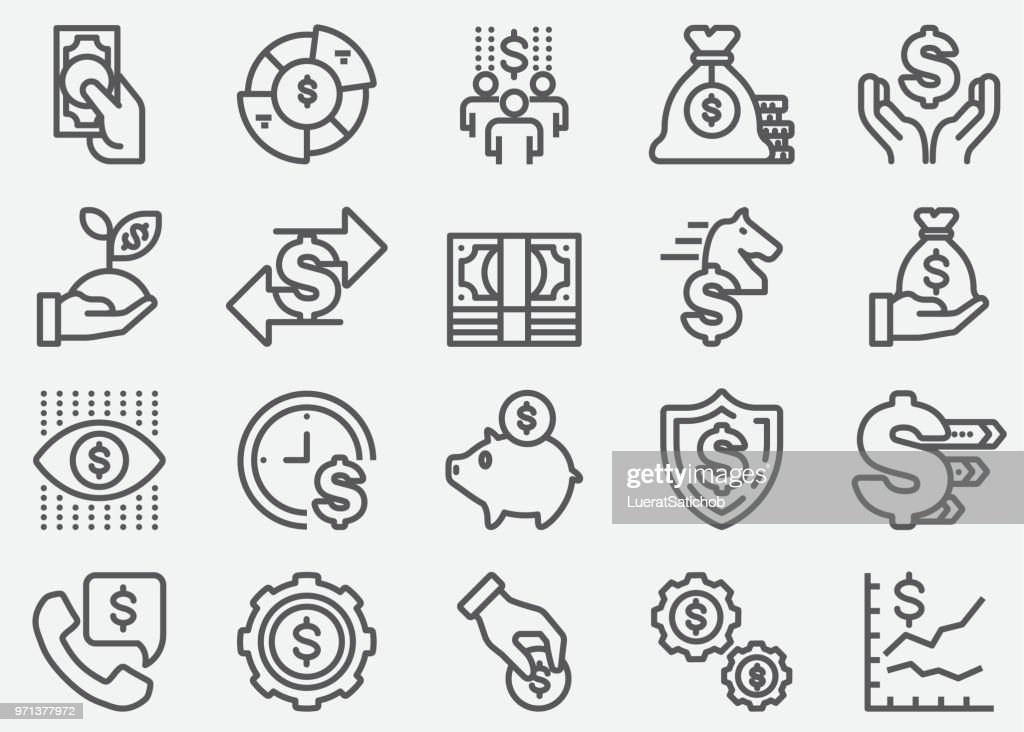 Money and Finance Line Icons : stock illustration