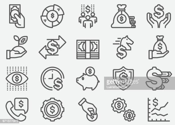 money and finance line icons - fund manager stock illustrations, clip art, cartoons, & icons