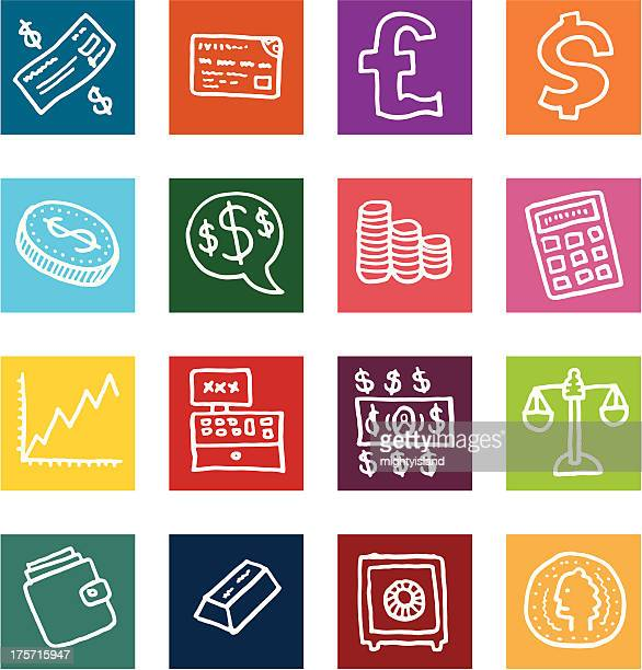 money and financial flat block icon set - dime stock illustrations