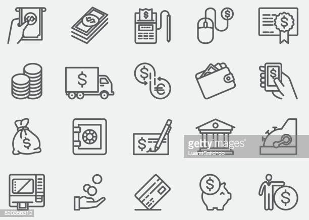 money and payment line icons - dollar sign stock illustrations, clip art, cartoons, & icons