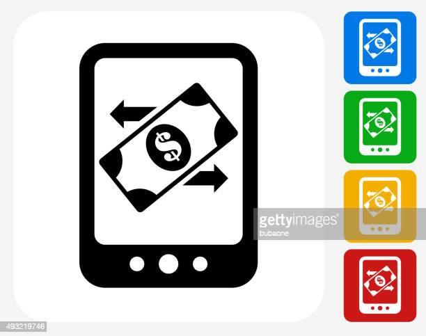 Money and Telephone Icon Flat Graphic Design