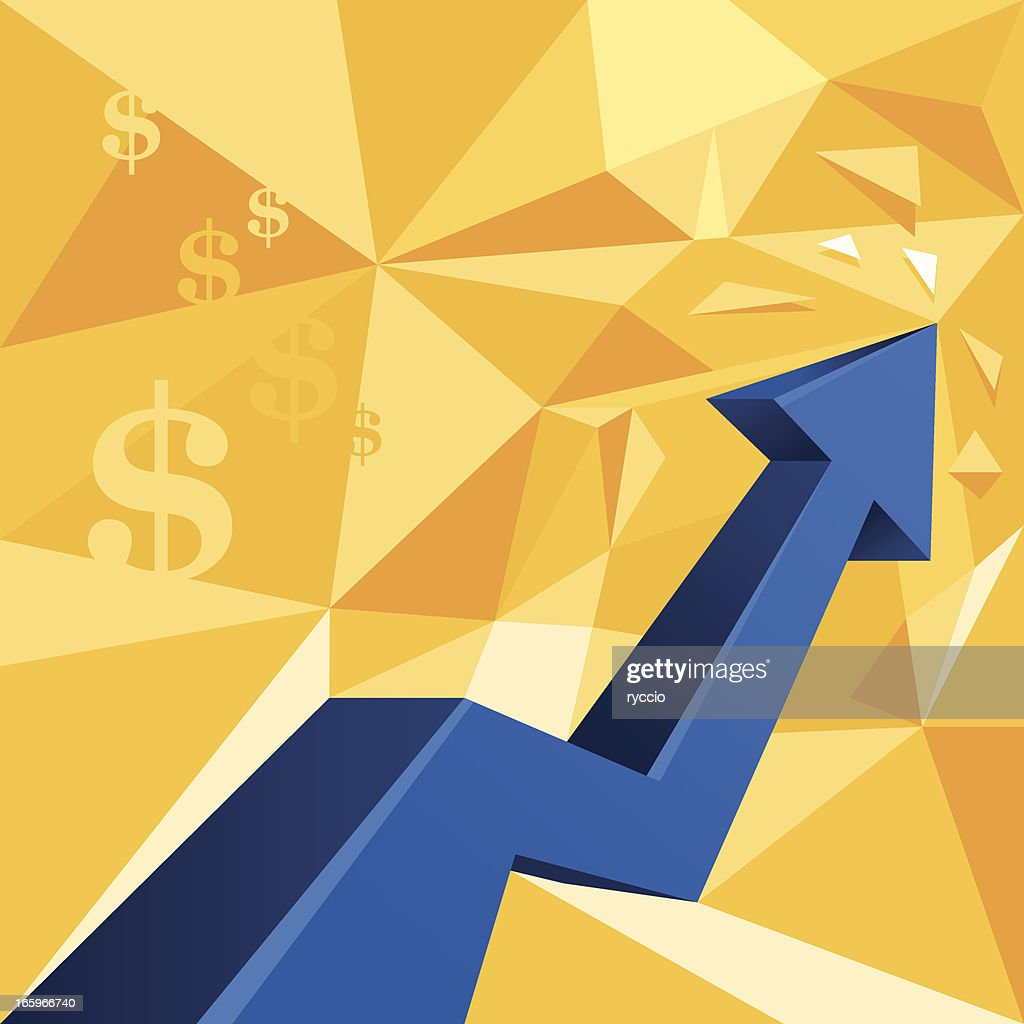 Money arrow graph, dollar sign - rising chart : stock illustration