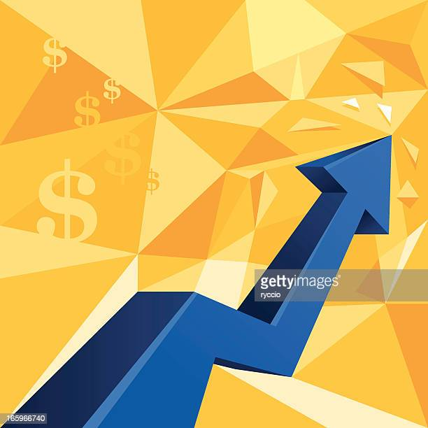 Money arrow graph, dollar sign - rising chart