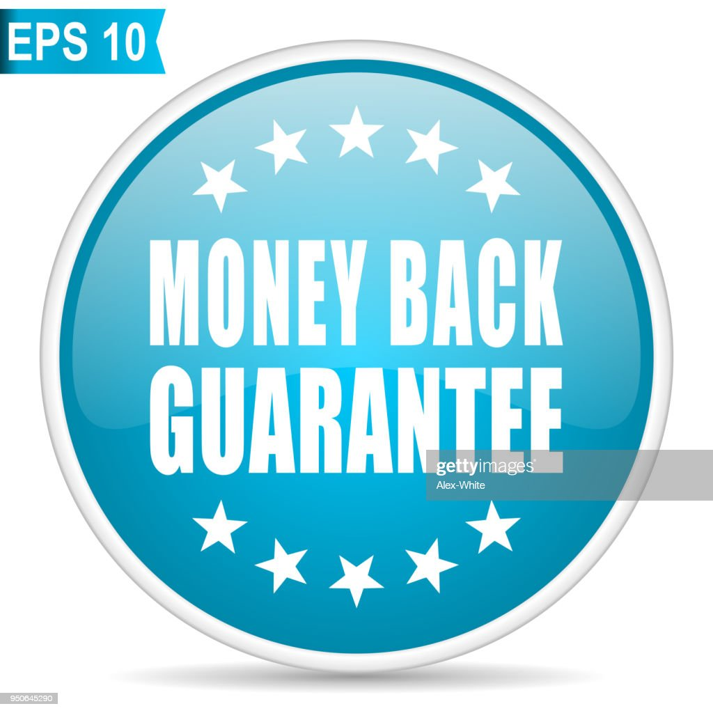 Money back guarantee blue glossy round vector icon in eps 10. Editable modern design internet button on white background.
