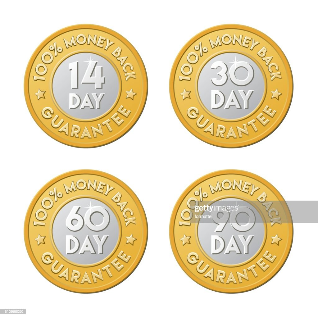 Money back guarantee golden silver coin icon set. 90, 30, 60, 14 day shop return logo.