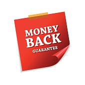 Money Back Guarantee Red Sticky Notes Vector Icon Design