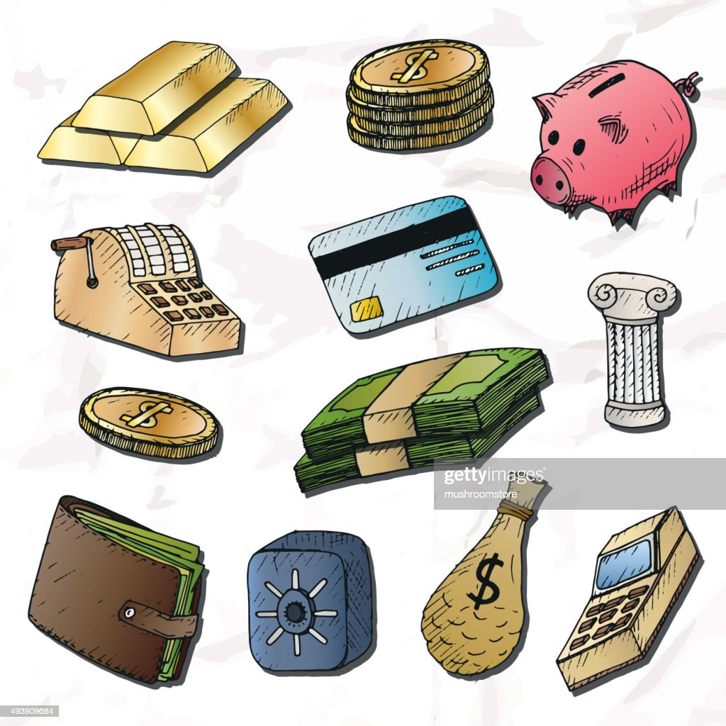 Money background. Isolated hand-drawn elements.