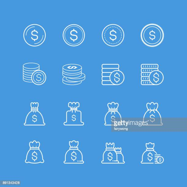 money bag and coin icons - millionnaire stock illustrations, clip art, cartoons, & icons