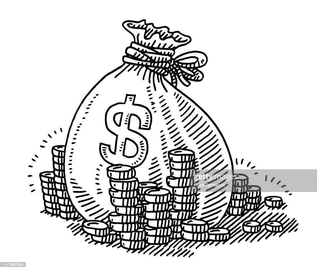 Bag With Money Sign Cartoon: Money Bag Dollar Sign And Coins Drawing Vector Art