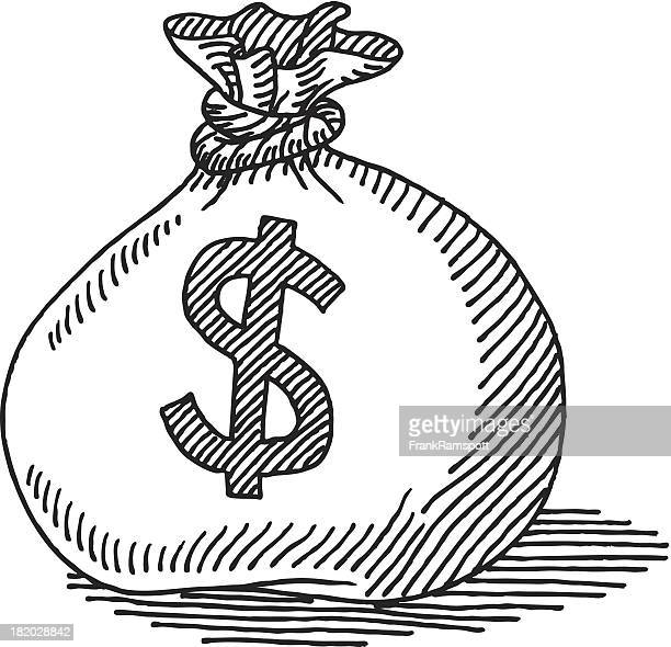 money bag dollar sign drawing - money bag stock illustrations