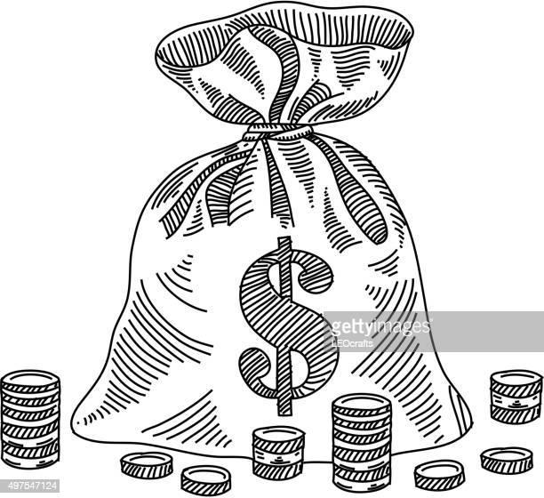 ilustraciones, imágenes clip art, dibujos animados e iconos de stock de bolsa de dinero dibujo - bolsa de dinero