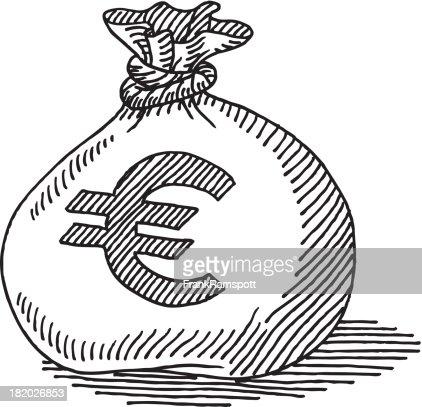 sac dargent euro de dessin clipart vectoriel getty images