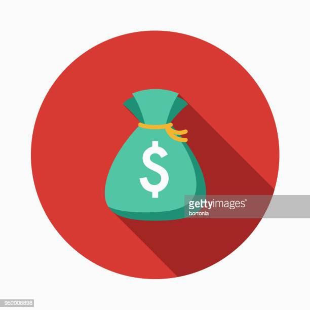 ilustraciones, imágenes clip art, dibujos animados e iconos de stock de dinero bolsa plana diseño icono occidental - bolsa de dinero