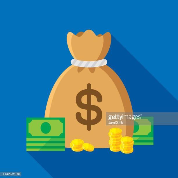 money bag flat - capitalism stock illustrations