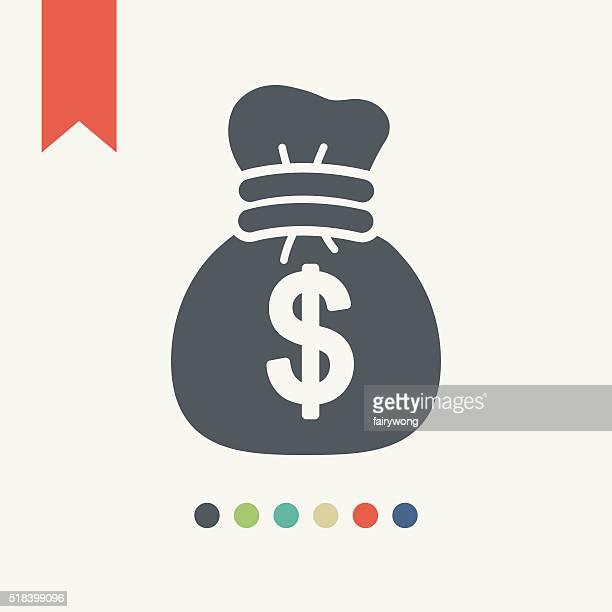 ilustraciones, imágenes clip art, dibujos animados e iconos de stock de bolsa de dinero icono - bolsa de dinero