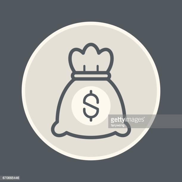 money bag icon - drawstring bag stock illustrations