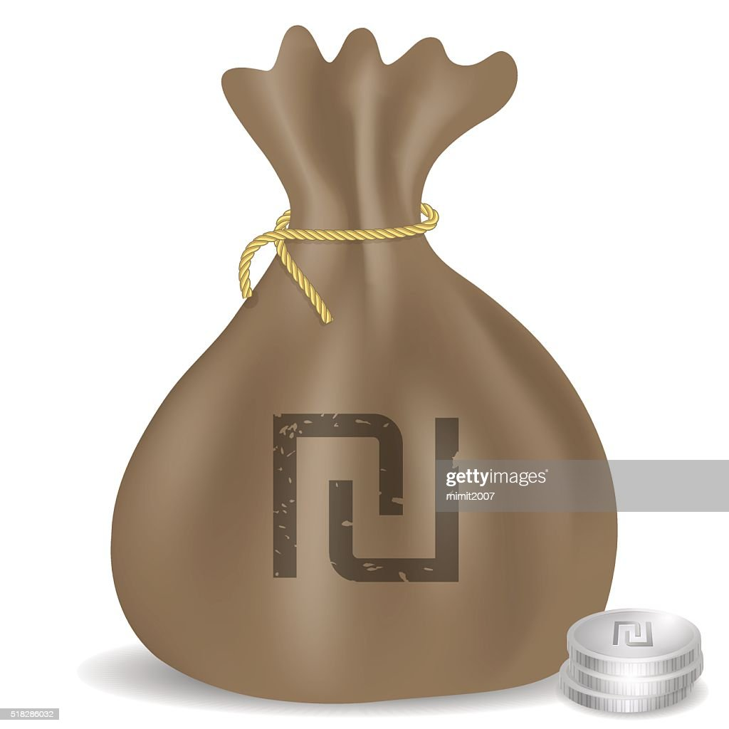 Money Bag Icon With Israeli Shekel Symbol And Coins Vector Art