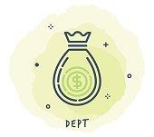 Money Bag Line Icon