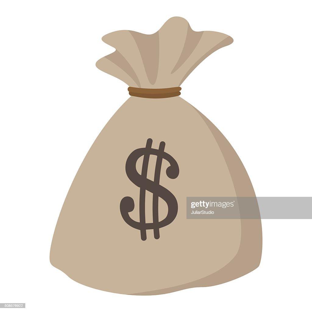 Money bag or sack cartoon icon : Vectorkunst
