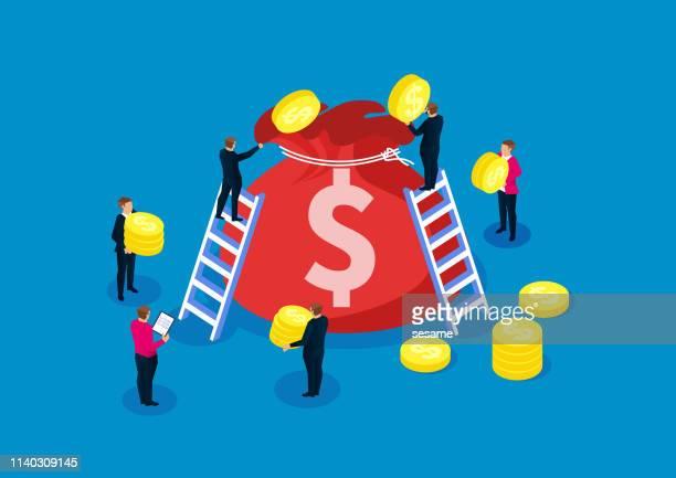 マネーバッグ、利益、投資とリターン、成功したビジネス - クラウドソーシング点のイラスト素材/クリップアート素材/マンガ素材/アイコン素材