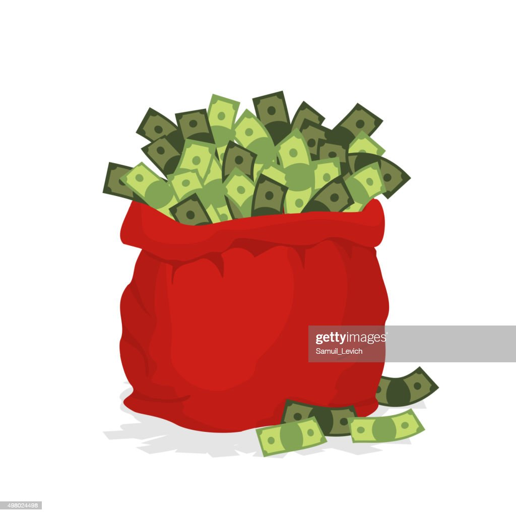 Money bag Santa Claus. Red festive bag filled with dollars.