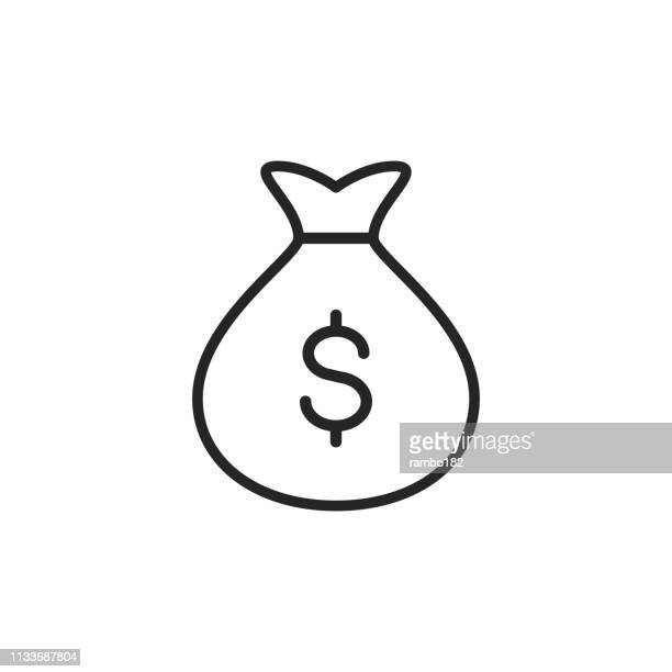 money bag thin line vector icon. editable stroke. pixel perfect. for mobile and web. - money bag stock illustrations