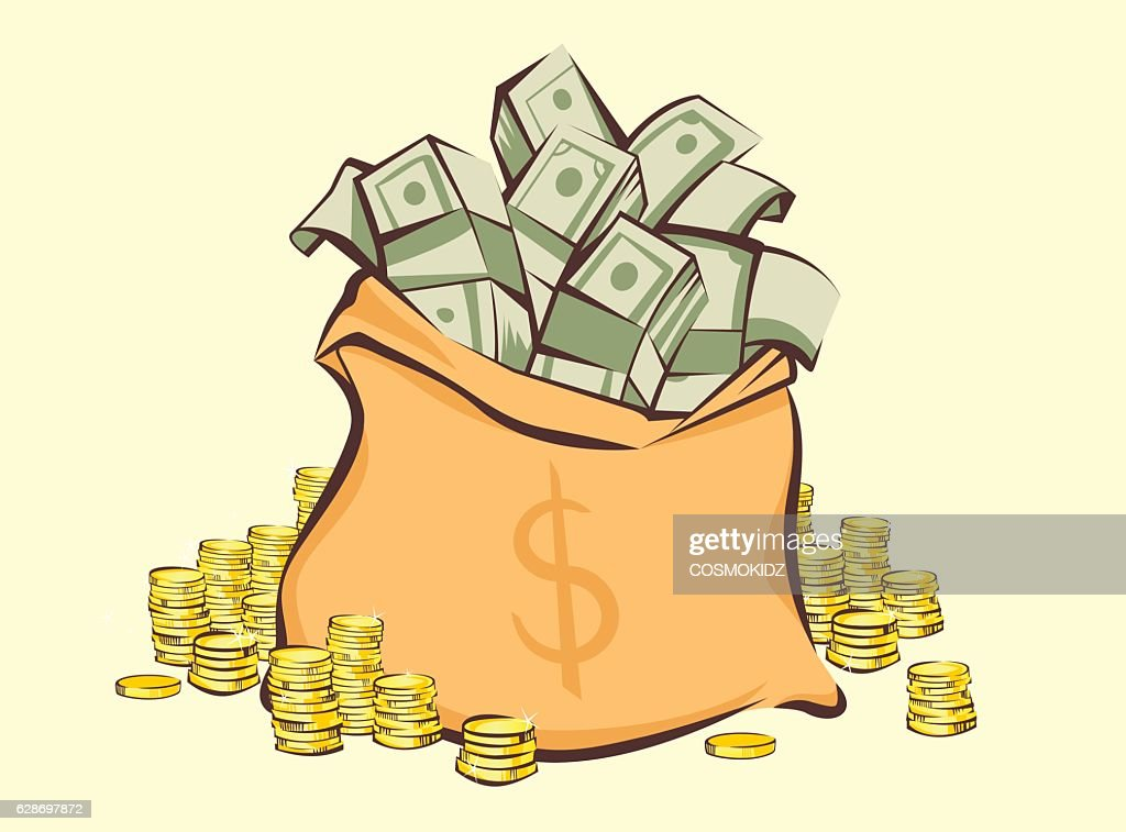 Money bag with bunches of dollars and coins, vector illustration