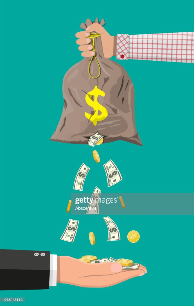 Money bag with hole. Business insurance