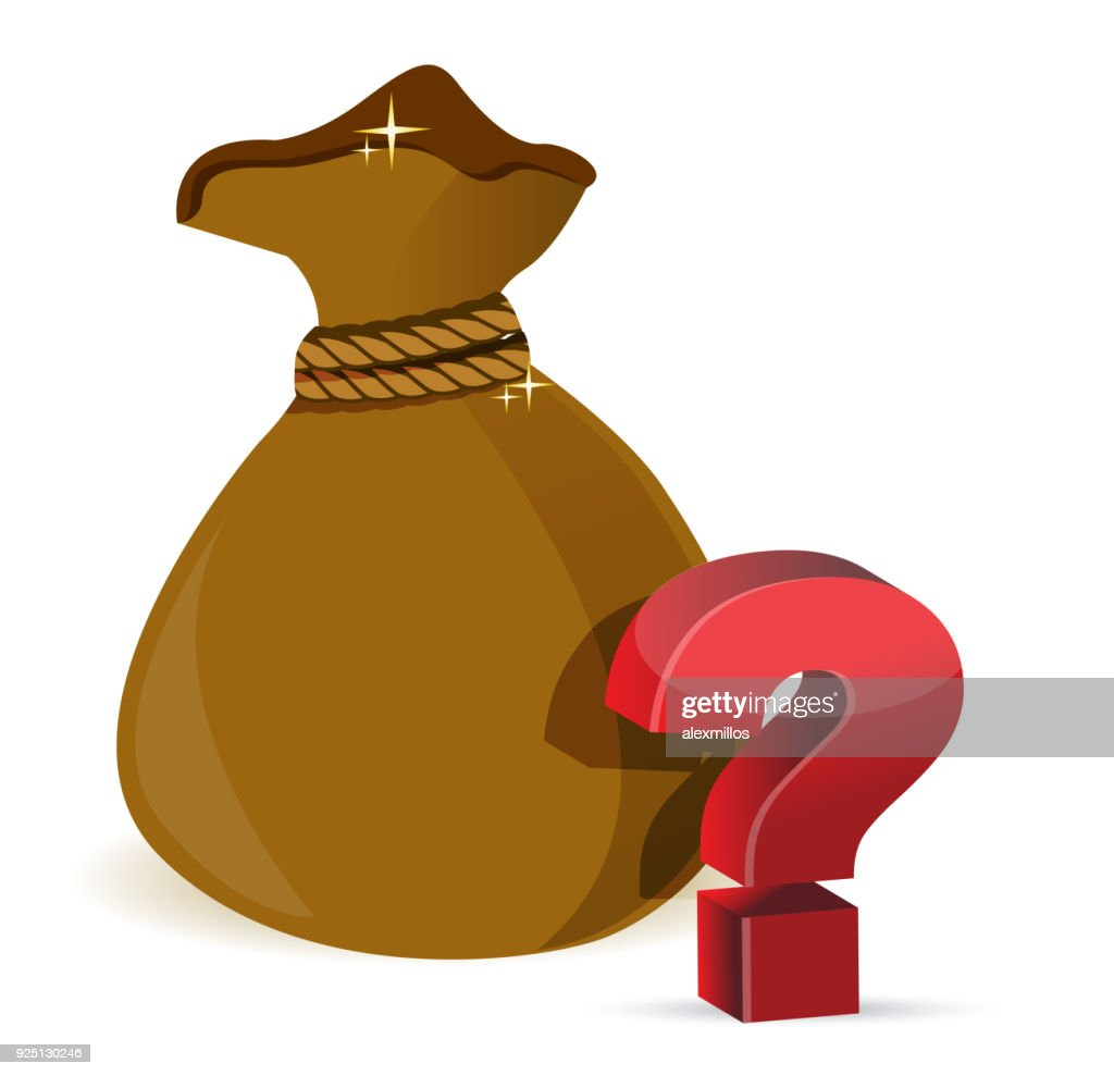 A money bag with question marks illustration design over a white background