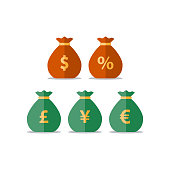 Money bags, dollar pound yen euro sign, currency exchange, savings and investment, financial solution