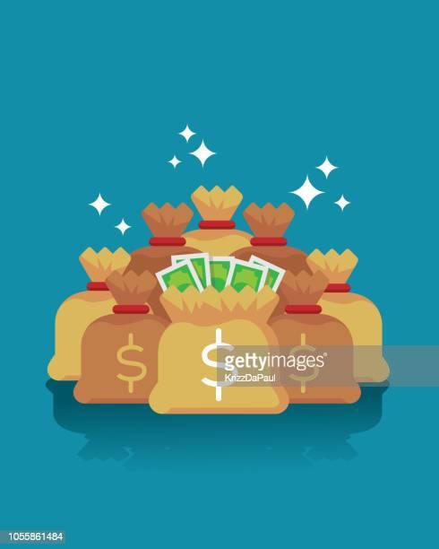 ilustraciones, imágenes clip art, dibujos animados e iconos de stock de bolsas de dinero - bolsa de dinero