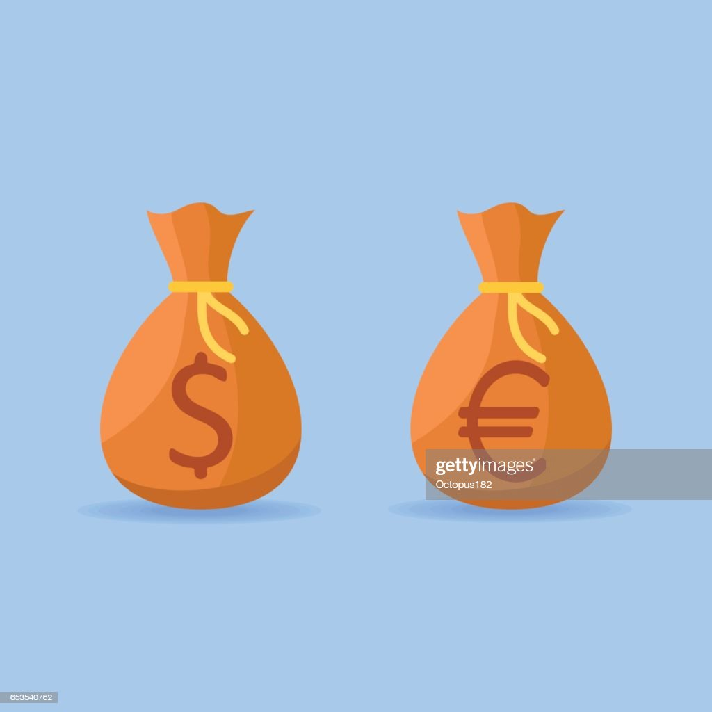 Money bags with dollar and euro sign flat style icons