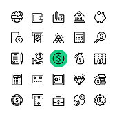 Money, banking line icons set. Modern graphic design concepts, simple outline elements collection. 32x32 px. Pixel perfect. Vector line icons