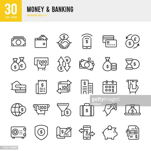 money & banking - set of line vector icons - money bag stock illustrations