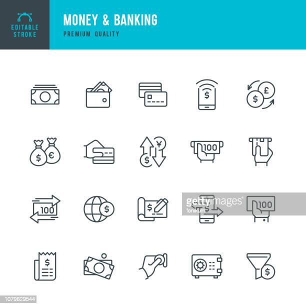 money & banking - set of line vector icons - credit card stock illustrations