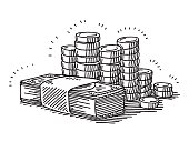 Money Banknotes And Coins Drawing