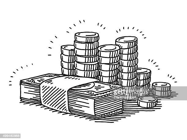 money banknotes and coins drawing - finance and economy stock illustrations, clip art, cartoons, & icons