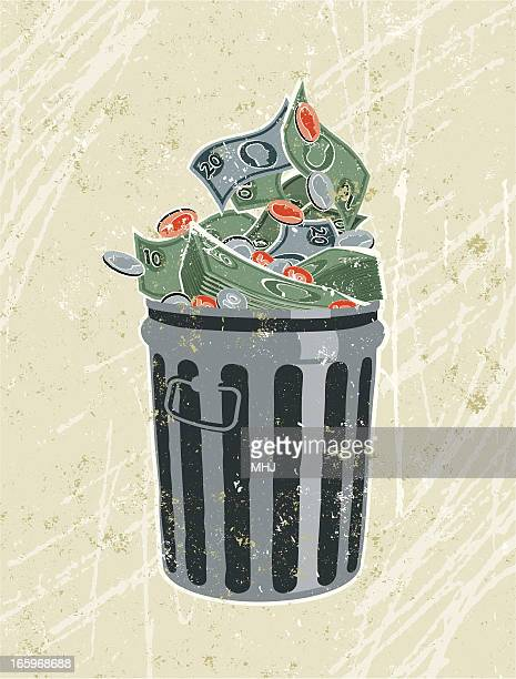 money, banknotes and coins in a garbage bin - money out the window stock illustrations, clip art, cartoons, & icons